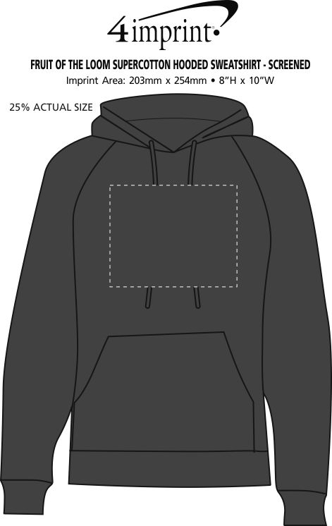 Imprint Area of Fruit of the Loom Supercotton Hooded Sweatshirt - Screen