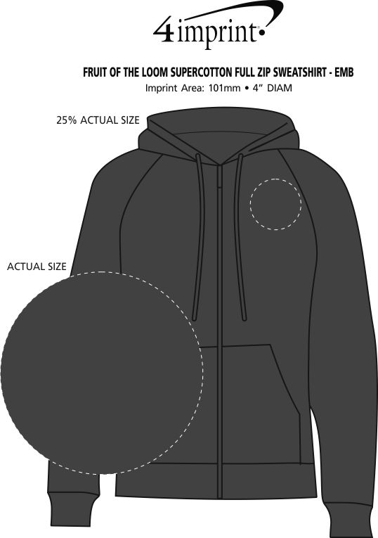 Imprint Area of Fruit of the Loom Supercotton Full-Zip Sweatshirt - Embroidered
