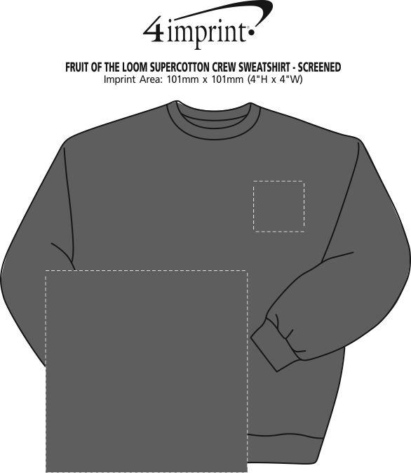 Imprint Area of Fruit of the Loom Supercotton Crew Sweatshirt - Screen