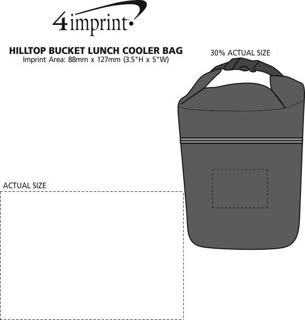 Imprint Area of Hilltop Bucket Lunch Cooler Bag