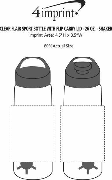 Imprint Area of Clear Impact Flair Bottle with Flip Carry Lid - 26 oz. - Shaker