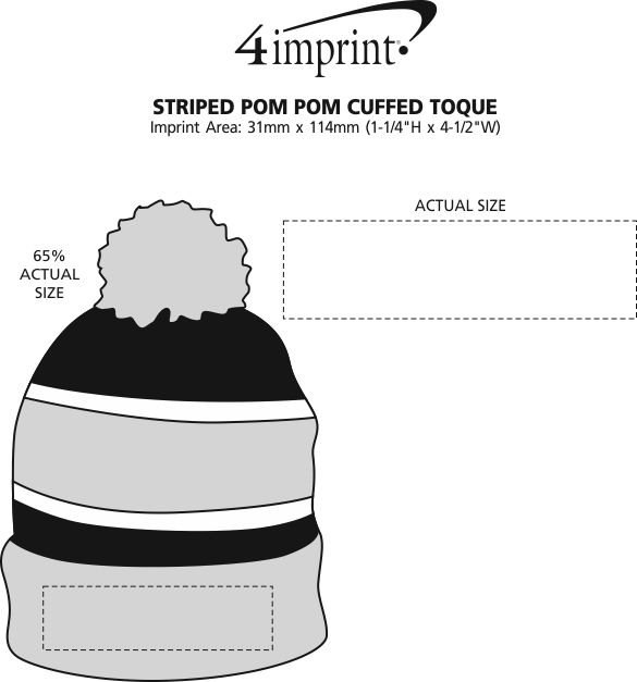 Imprint Area of Striped Pom Pom Cuffed Toque