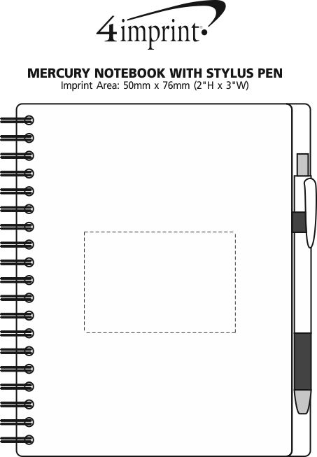 Imprint Area of Mercury Notebook with Stylus Pen
