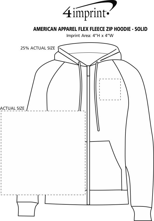 Imprint Area of American Apparel Flex Fleece Zip Hoodie - Screen
