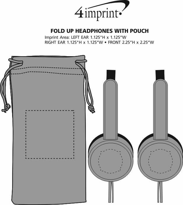 Imprint Area of Fold Up Headphones with Pouch - Closeout