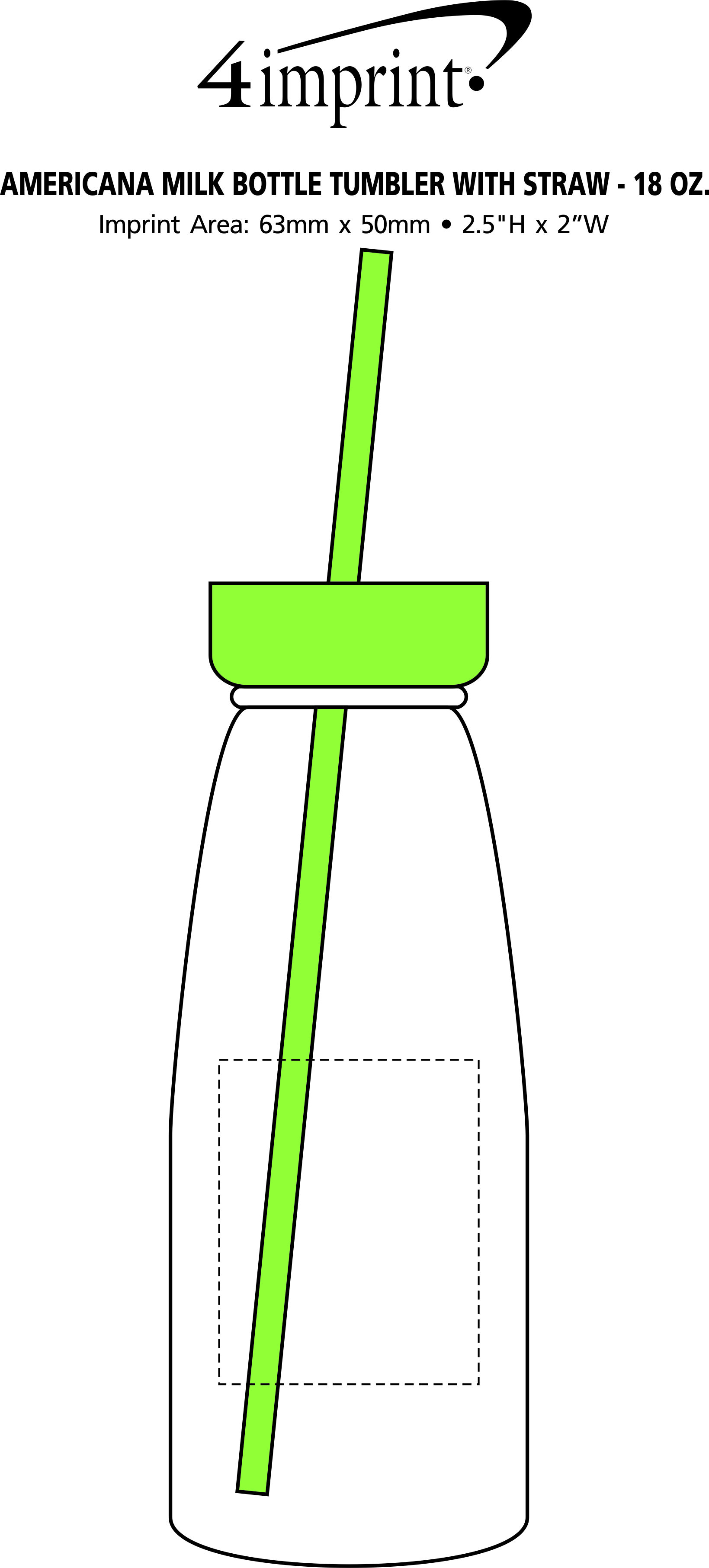 Imprint Area of Milk Bottle Tumbler with Straw - 18 oz. - Closeout
