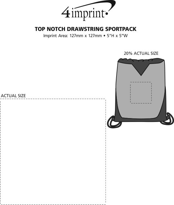 Imprint Area of Top Notch Drawstring Sportpack - Closeout