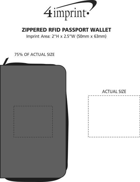Imprint Area of Zippered RFID Passport Wallet