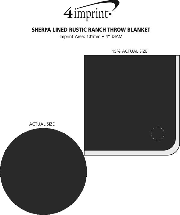 Imprint Area of Sherpa Lined Rustic Ranch Throw Blanket