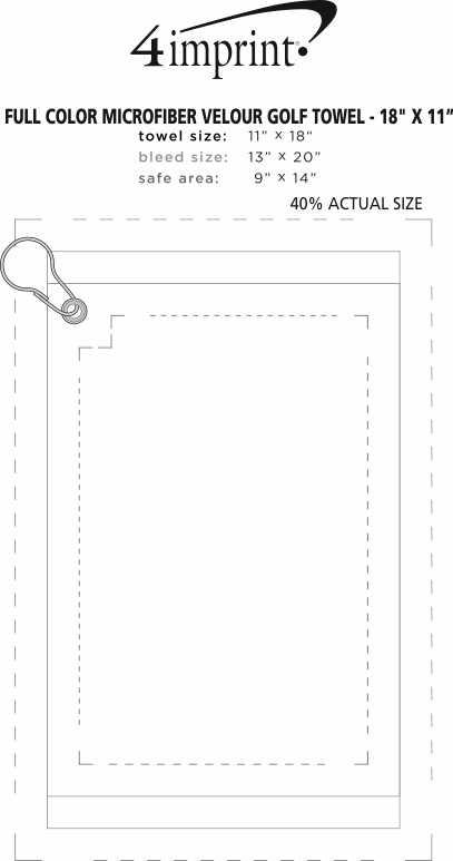 "Imprint Area of Full Colour Microfibre Velour Golf Towel - 18"" x 11"""