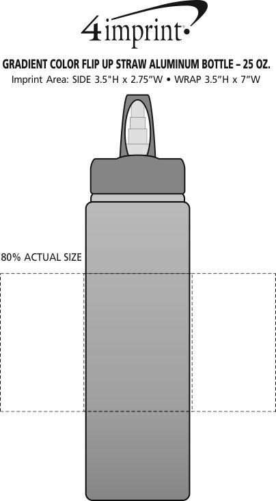Imprint Area of Gradient Aluminum Sport Bottle - 25 oz.