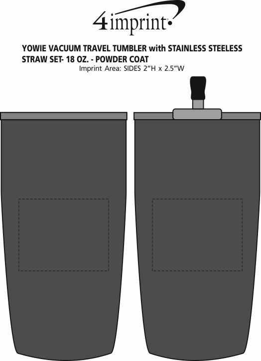 Imprint Area of Yowie Vacuum Tumbler with Stainless Straw Set - 18 oz. - Powder Coat