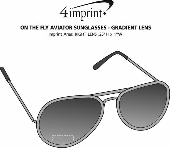 Imprint Area of On the Fly Aviator Sunglasses - Gradient Lens