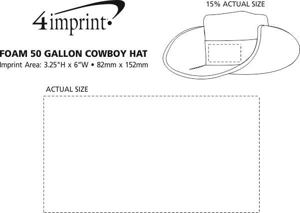 Imprint Area of Foam 50 Gallon Cowboy Hat