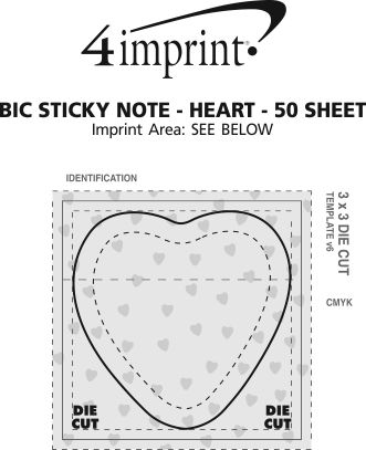 Imprint Area of Bic Sticky Note - Heart - 50 Sheet - Stock Design