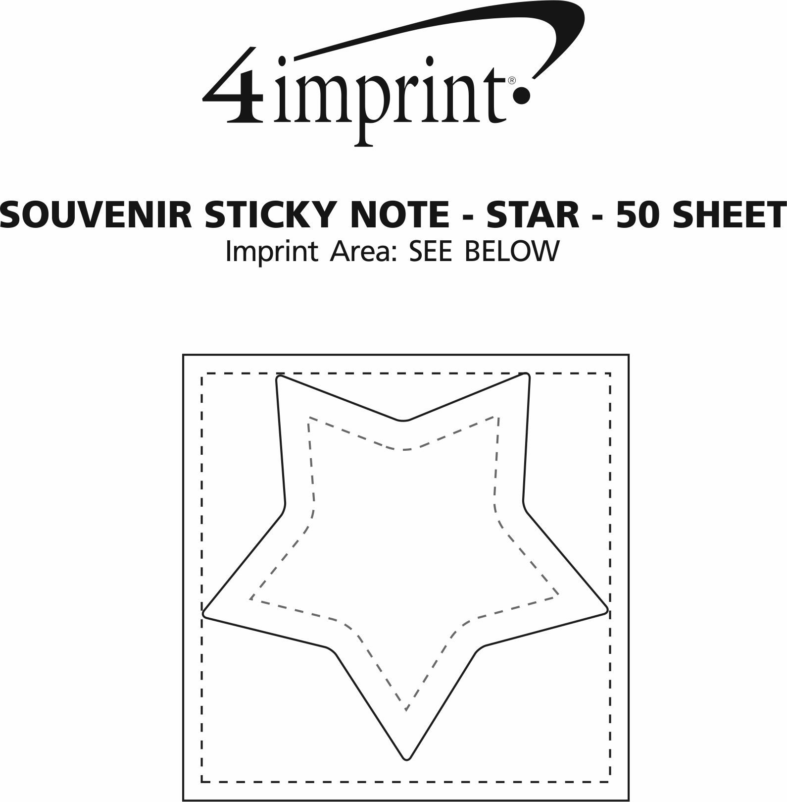Imprint Area of Bic Sticky Note - Star - 50 Sheet
