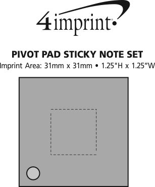 Imprint Area of Pivot Pad Sticky Note Set
