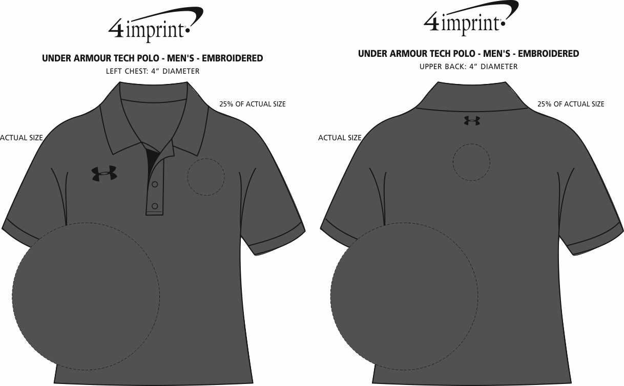 Imprint Area of Under Armour Tech Polo - Men's - Embroidered