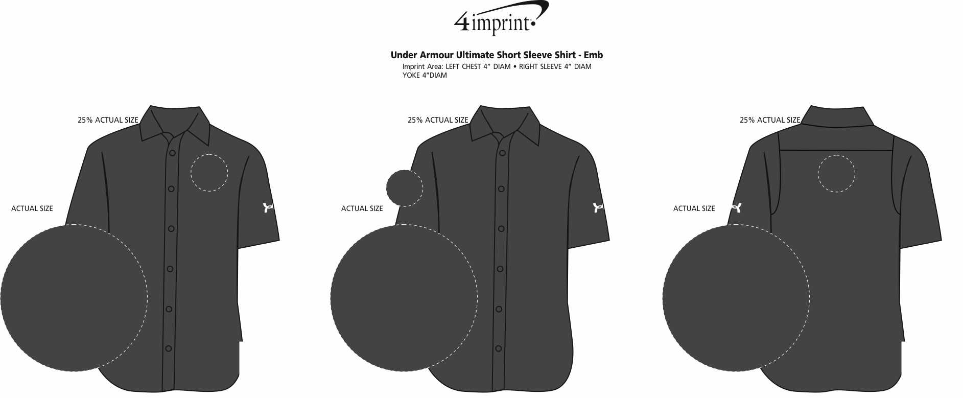 Imprint Area of Under Armour Ultimate Short Sleeve Shirt - Embroidered
