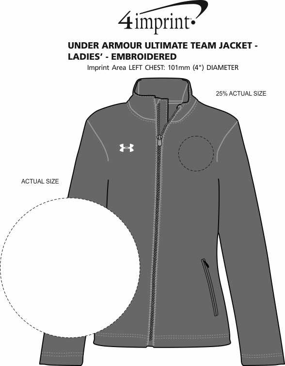 Imprint Area of Under Armour Ultimate Team Jacket - Ladies' - Embroidered