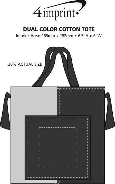 Imprint Area of Dual Colour Cotton Tote