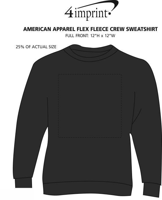 Imprint Area of American Apparel Flex Fleece Crew Sweatshirt - Screen