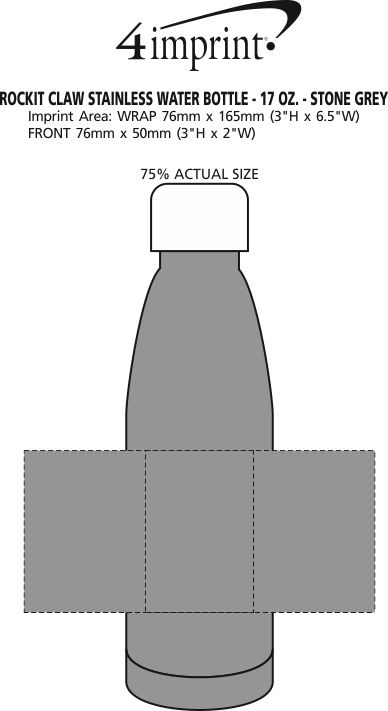 Imprint Area of Rockit Claw Stainless Water Bottle - 17 oz. - Stone Grey