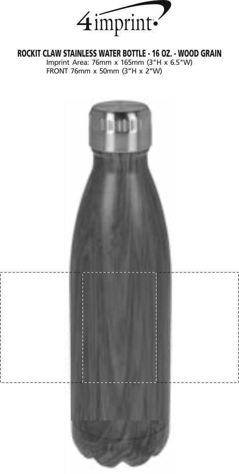 Imprint Area of Rockit Claw Stainless Water Bottle - 17 oz. - Wood Grain