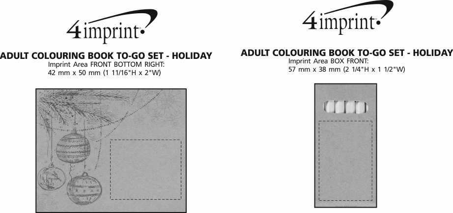 Imprint Area of Adult Colouring Book To-Go Set - Holiday