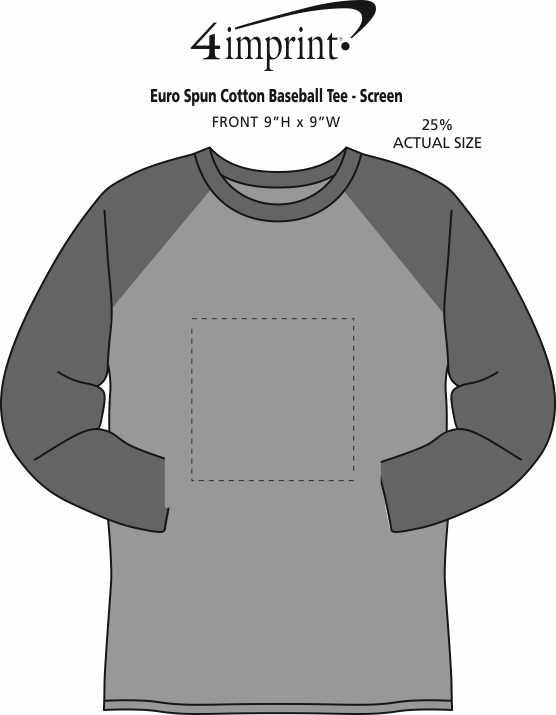Imprint Area of Euro Spun Cotton Baseball Tee - Men's - Screen