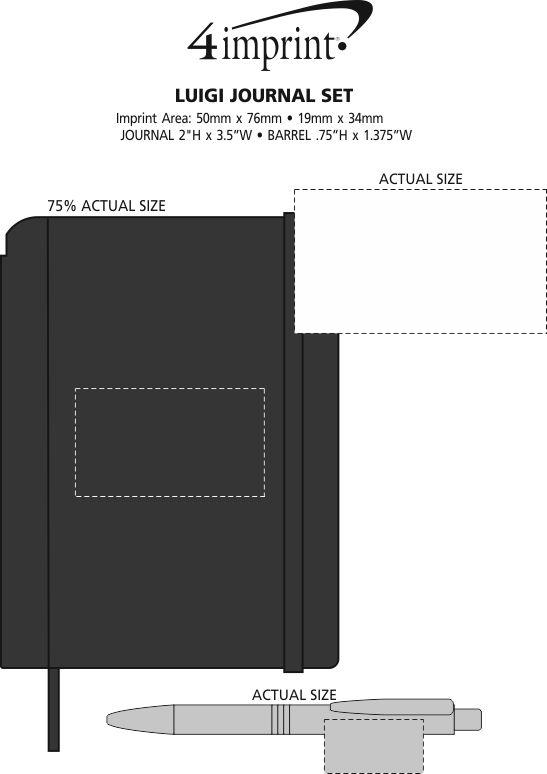 Imprint Area of Luigi Notebook with Pen
