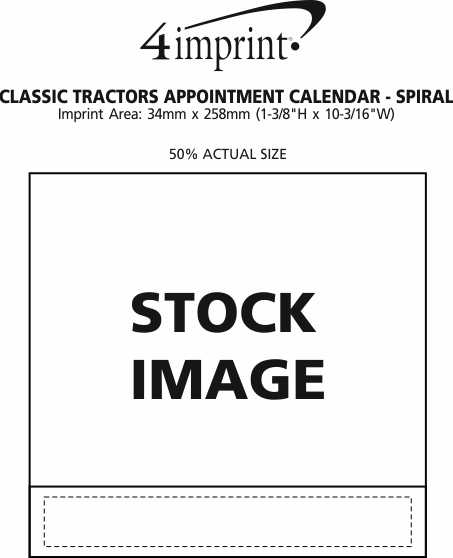 Imprint Area of Classic Tractors Appointment Calendar - Spiral
