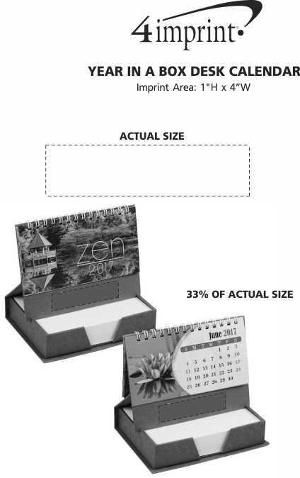 Imprint Area of Year in a Box Desk Calendar