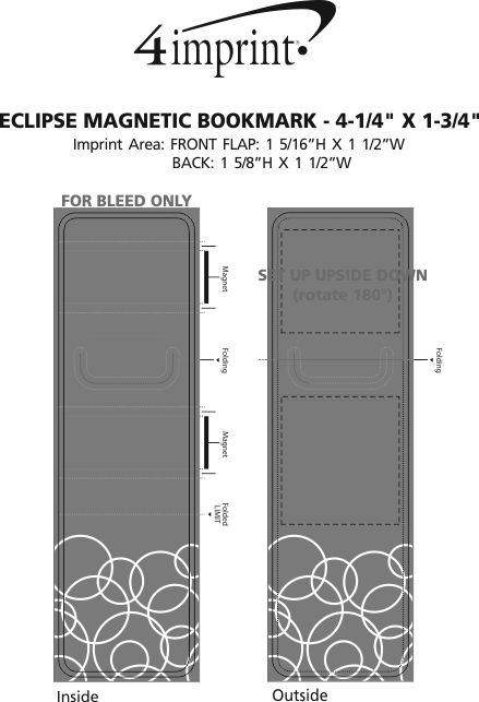 """Imprint Area of Eclipse Magnetic Bookmark - 4-1/4"""" x 1-3/4"""""""