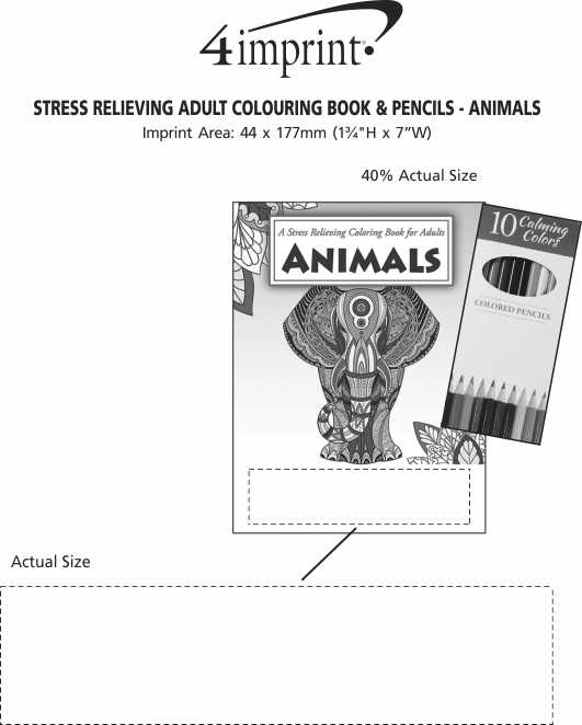 Imprint Area of Stress Relieving Adult Colouring Book & Pencils - Animals