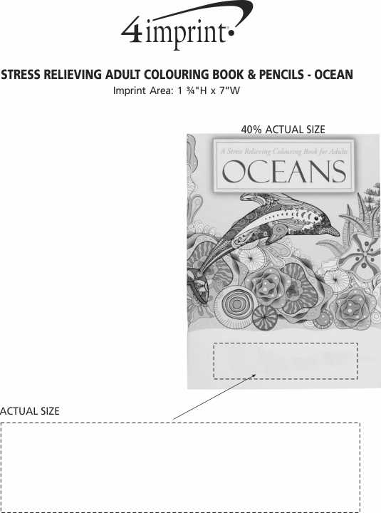 Imprint Area of Stress Relieving Adult Colouring Book & Pencils - Oceans