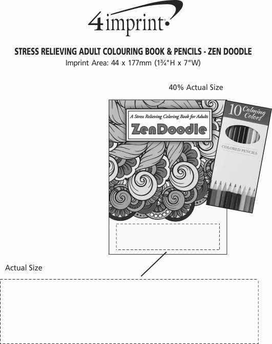 Imprint Area of Stress Relieving Adult Colouring Book & Pencils - Zen Doodle
