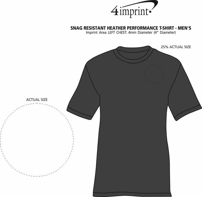 Imprint Area of Snag Resistant Heather Performance T-Shirt - Men's