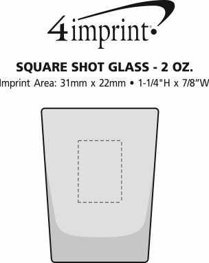 Imprint Area of Square Shot Glass - 2 oz.
