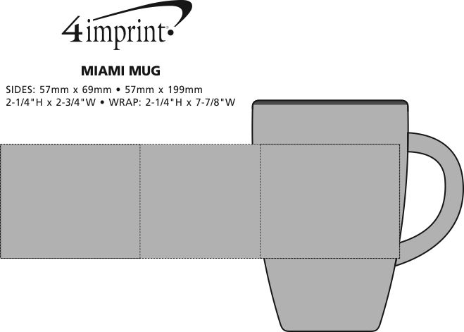 Imprint Area of Miami Mug - 13 oz.