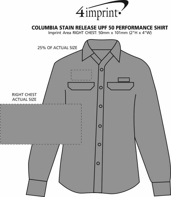Imprint Area of Columbia Stain Release UPF 50 Performance Shirt