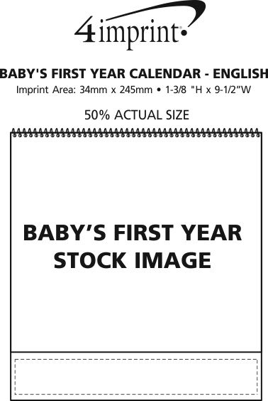 Imprint Area of Baby's First Year Calendar