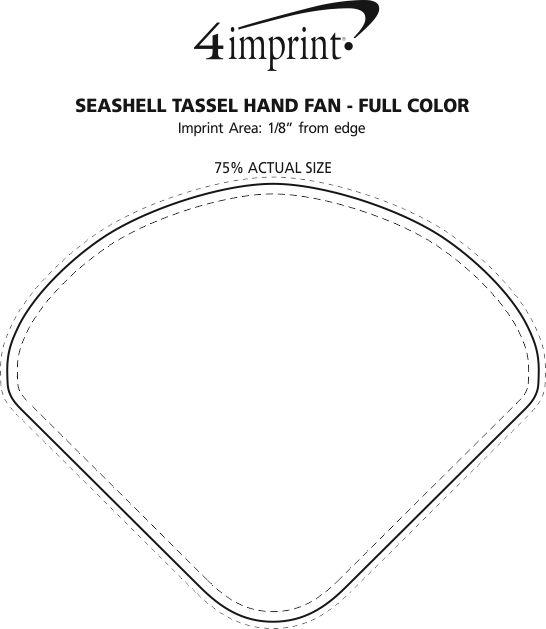 Imprint Area of Seashell Tassel Hand Fan - Full Colour