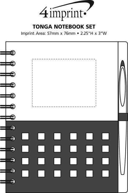 Imprint Area of Tonga Notebook Set - Closeout