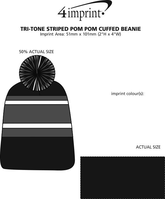 Imprint Area of Tri-Tone Striped Pom Pom Cuffed Beanie