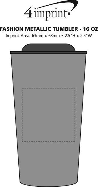 Imprint Area of Customized Fashion Metallic Travel Mug - 16 oz.