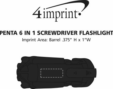 Imprint Area of Penta 6-in-1 Screwdriver Flashlight