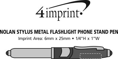 Imprint Area of Nolan Stylus Metal Flashlight Phone Stand Pen