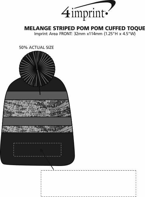 Imprint Area of Melange Striped Pom Pom Cuffed Toque