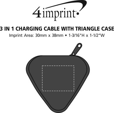 Imprint Area of 3-in-1 Charging Cable with Triangle Case